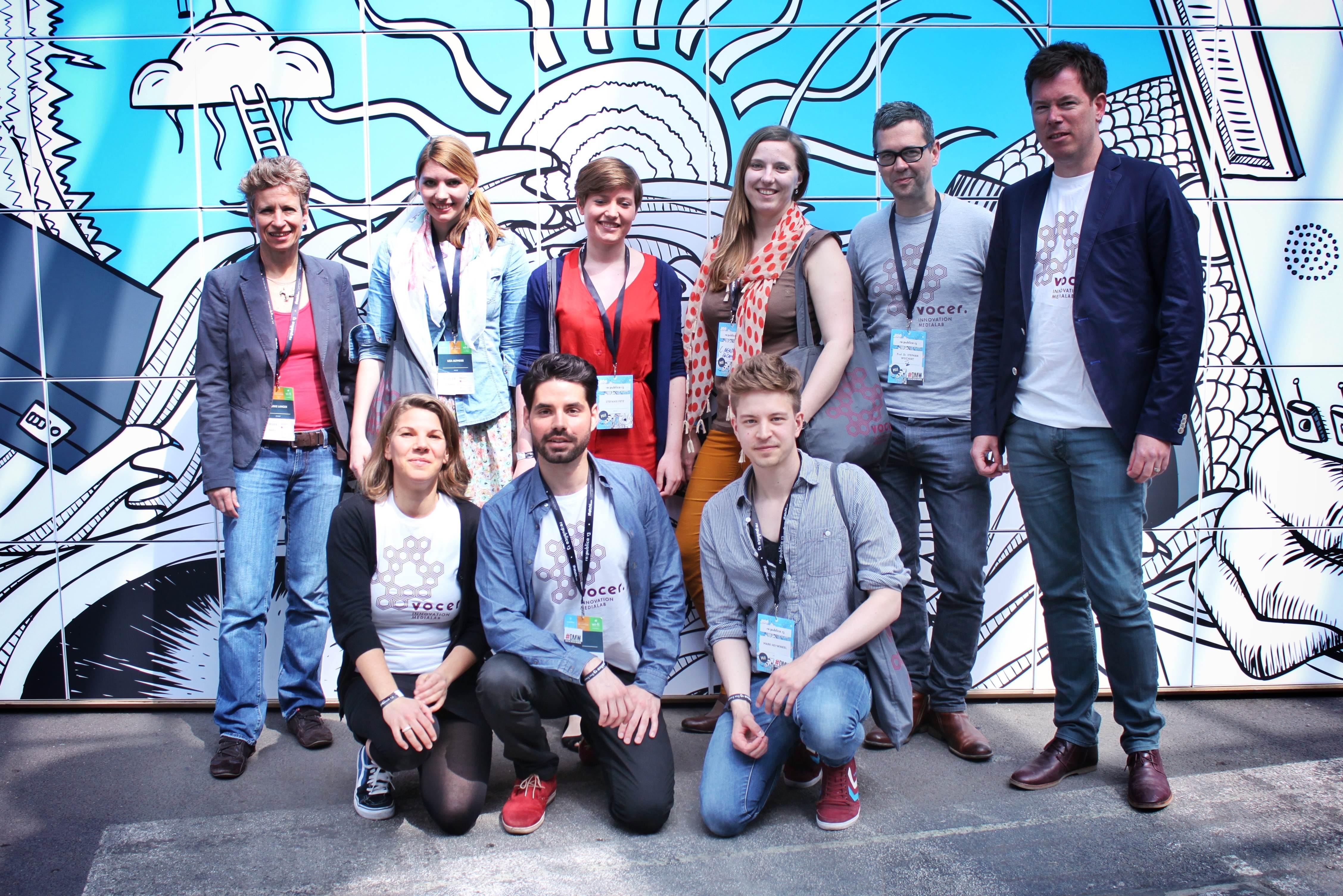 Ein Teil des Medialab-Teams im Mai 2013 bei der re:publica in Berlin