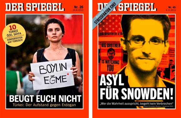 """Mut zur Meinung: Die Cover der """"Spiegel""""-Ausgaben 26/2013 und 45/2013."""